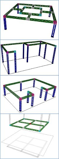 Modular Manufacturing Cells Using Modular Alumium Display Truss